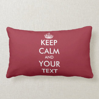 Custom color Keep calm throw lumbar pillow | red
