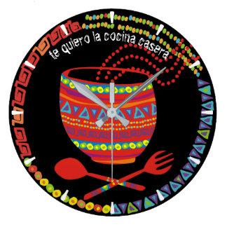 Custom color Mexican Aztec food bowl kitchen clock
