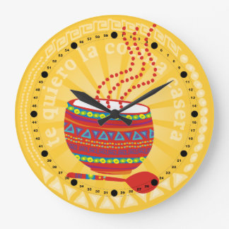 Custom color Mexican food bowl kitchen clock