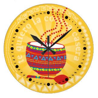 Custom color Mexican food bowl kitchen clock
