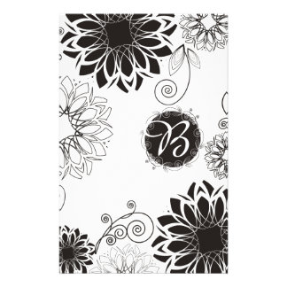 Custom color mod floral black and white flowers stationery paper