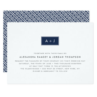 Custom Color Modern Monogram Wedding Invitation