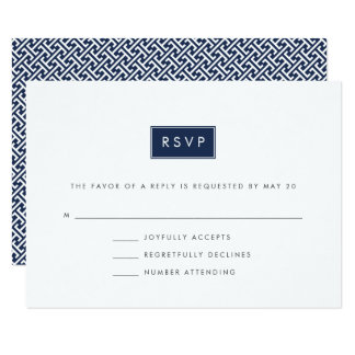 Custom Color Modern Wedding RSVP Card