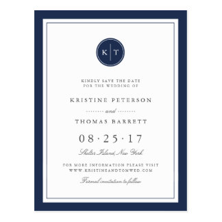 Custom Color Monogram Wedding Save the Date Postcard