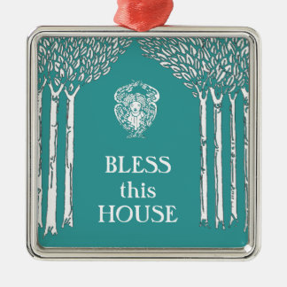 Custom Color Nouveau Angel Bless this House Christmas Ornament