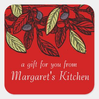 Custom color olive branch food gift tag label