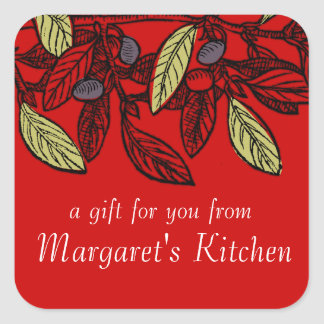 Custom color olive branch food gift tag label square sticker