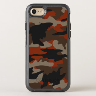 Custom Color Orange Camo Camouflage Pattern Rugged OtterBox Symmetry iPhone 8/7 Case