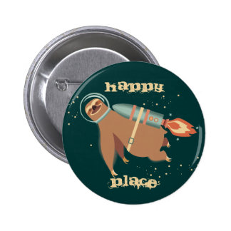 Custom color outer space sloth rocket jet pack 6 cm round badge