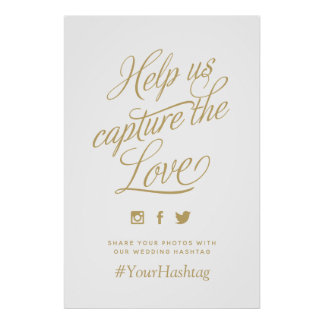 Custom Color Personalized Wedding Hashtag Sign