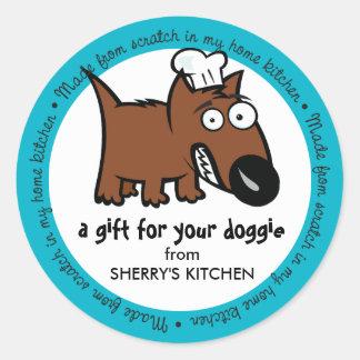 Custom color pet food chef dog food dog treats round sticker