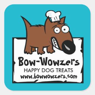 Custom color pet food chef dog food dog treats square sticker