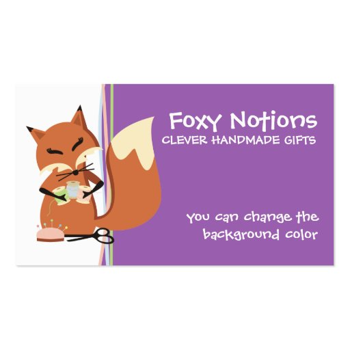 Custom color sewing notions fox gift tag business card templates