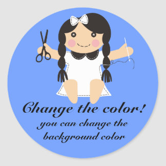Custom color sewing seamstress doll gift tag label round sticker