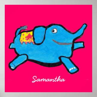 Custom Color Silly Blue Elephant Print