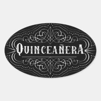 Custom Color South Western Quinceañera Stickers Oval Sticker