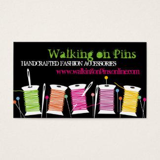 Custom color spools thread sewing pins seamstress business card
