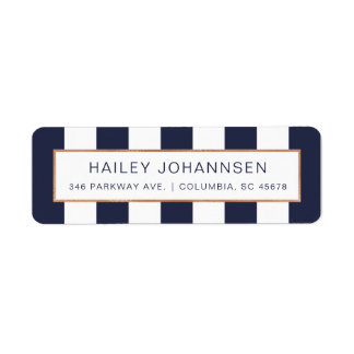 Custom Color Stripes Faux Foil Address Labels