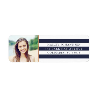 Custom Color Stripes Photo Return Address Labels