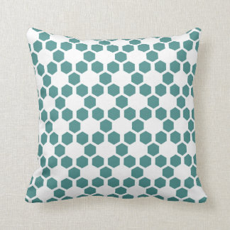 Custom Color, Teal and White Hexagon Pattern Cushion