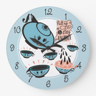 Custom color teapot teacup shower kitchen clock