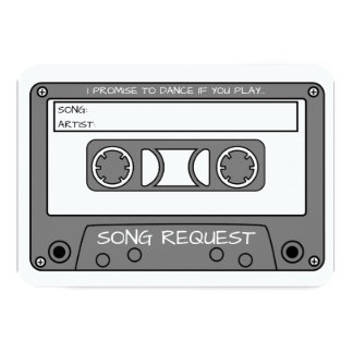 Custom Color Vintage Cassette Tape Song Request Card