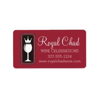 Custom color wine glass crown food wine catering address label