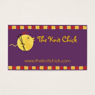 Custom color yarn knitting needles chick biz card
