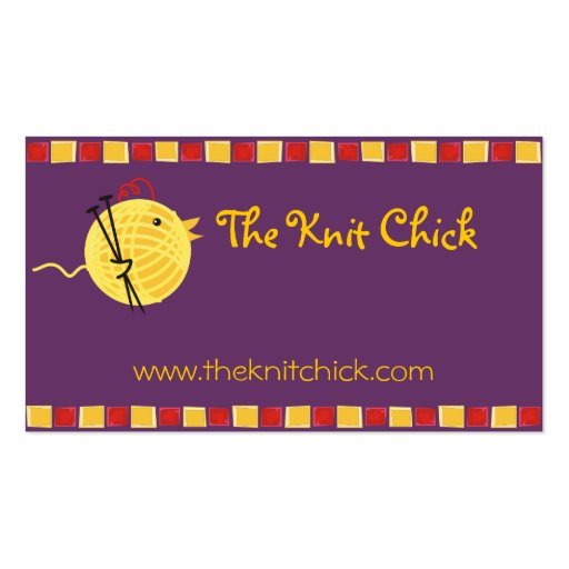 Custom color yarn knitting needles chick biz card business card templates