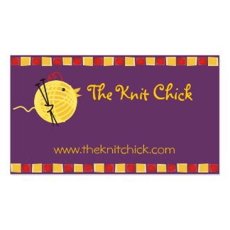 Custom color yarn knitting needles chick biz card pack of standard business cards