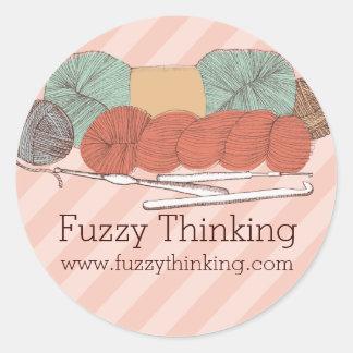 custom color yarn skeins crochet hooks mint coral round sticker