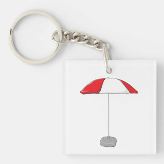 Custom Colorful Beach Umbrella Water Bottle Tag Double-Sided Square Acrylic Key Ring