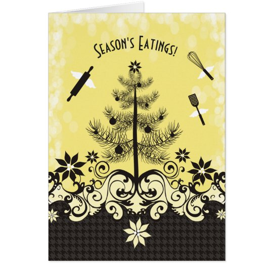Custom colour angel utensils baking Christmas card
