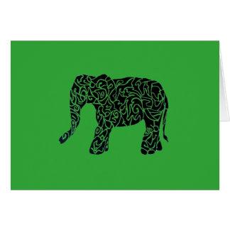 Custom Colour aText Tribal Elephant Greeting Card