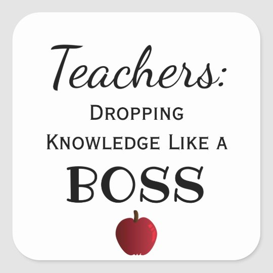 Custom Colour Awesome Teachers Like a Boss Square Sticker