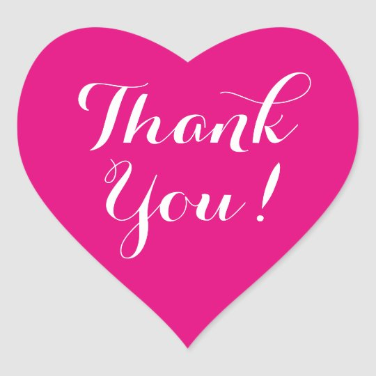 Custom colour background heart thank you stickers