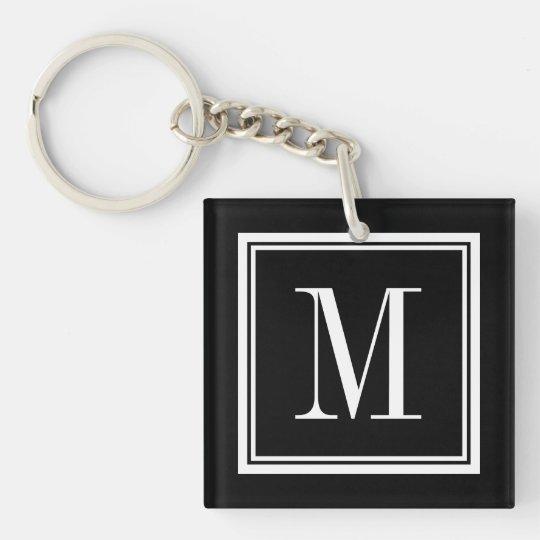 Custom colour background monogram letter keychain