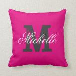 Custom colour background monogram throw pillow throw cushion