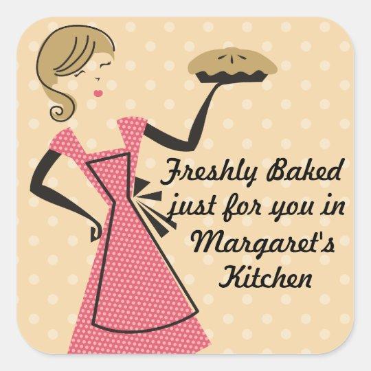 custom colour bakery retro baking pie girl square sticker