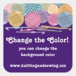Custom colour balls of yarn crochet hooks labels square sticker
