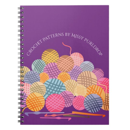 Custom colour balls of yarn crochet hooks notebook