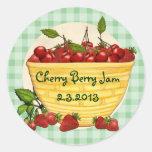 Custom colour berry cherry strawberry canning round sticker