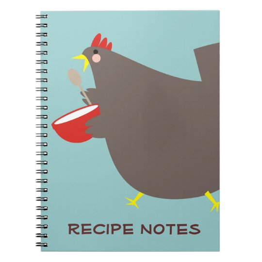 Custom colour chicken mixing bowl cooking notebook