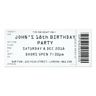 Custom Colour Concert Ticket Party Invitation
