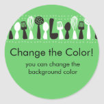 custom colour cooking utensils gift tag sticker