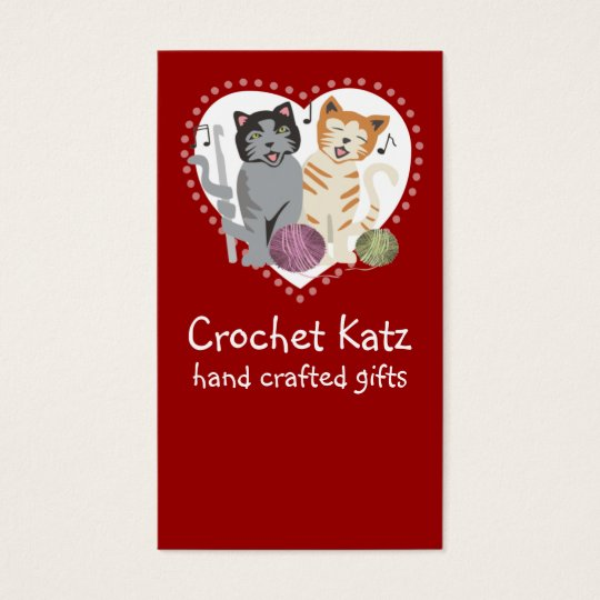 Custom colour crochet hook yarn cats business card