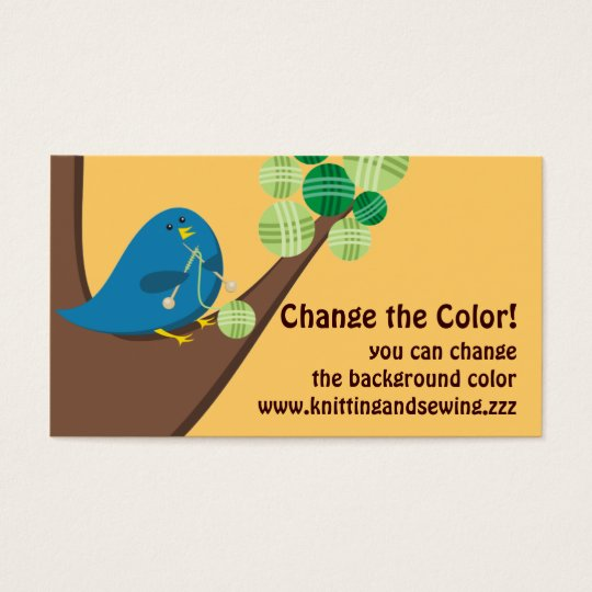 Custom colour cute blue bird knitting needles yarn business card