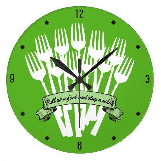 Custom colour dinner forks text flag kitchen clock