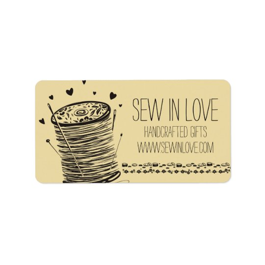 Custom colour doodle spool of thread sewing pins label