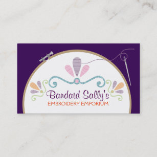Embroidery thread business cards zazzle uk custom colour embroidery hoop needle thread business card reheart Images